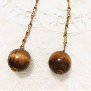 Vintage Jewelry - Vintage Wooden Ball Linear Dangle Drop Earrings